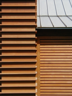 Detail of Exterior Wood Systems. Photo by Bradley Walters.