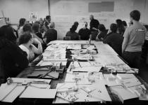 Disciplining. Associate Professor Martin Gundersen during studio reviews of work in progress. Architectural Design Four, Spring 2014. Photo: Mark McGlothlin.