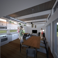 Interior view of kitchen and dining areas, with living areas beyond.