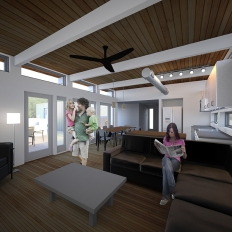 Interior view of living area, with kitchen, dining, and courtyard beyond.